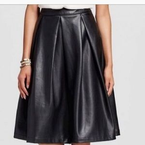 EUC Who What Wear Black Vegan Leather A-line Skirt